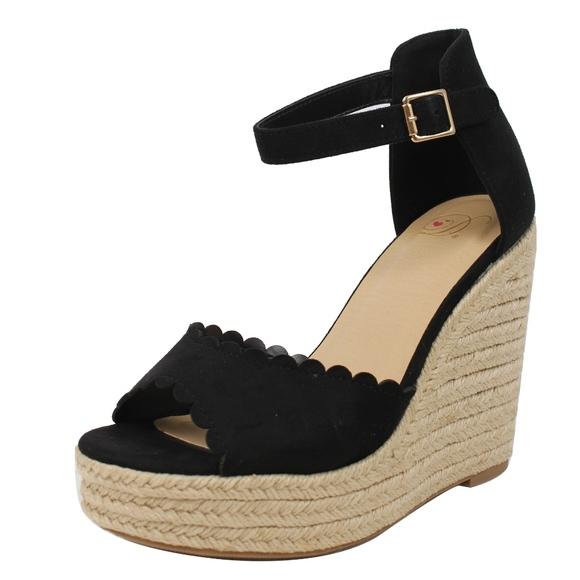 f6265930abef Black faux suede Peep Toe Ankle Strap Espadrille